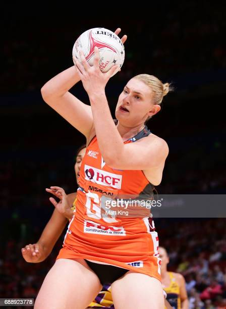 Kristina Brice of the Giants catches the ball during the round 14 Super Netball match between the Giants and the Lightning at Qudos Bank Arena on May...