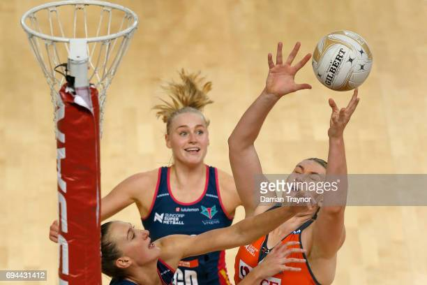 Kristina Brice of the Giants grabs the ball during the Super Netball Preliminary Final match between the Vixens and the Giants at Hisense Arena on...