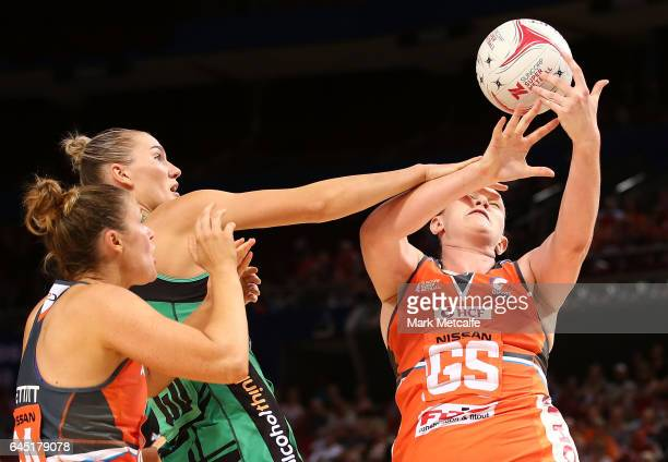 Kristina Brice of the Giants in action during the round two Super Netball match between the Giants and the West Coast Fever at Qudos Bank Arena on...