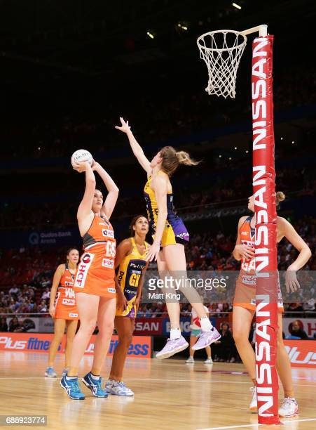 Kristina Brice of the Giants shoots during the round 14 Super Netball match between the Giants and the Lightning at Qudos Bank Arena on May 27 2017...
