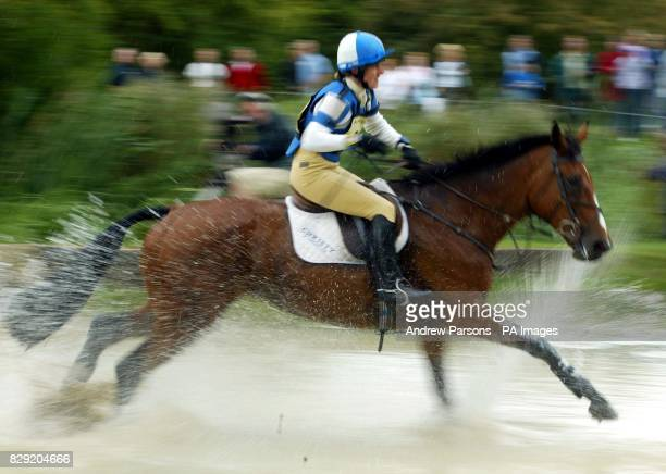 Kristina Cook on Douce De Longvaut at the Lower Trout Hatchery at the Burghley Horse Trials Cross Country Event