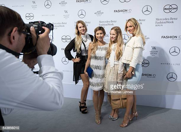 Kristina Derichs Kisu Diana zu Loewen and Carmen Mercedes are seen in the Quickcap car during the MercedesBenz Fashion Week Berlin Spring/Summer 2017...