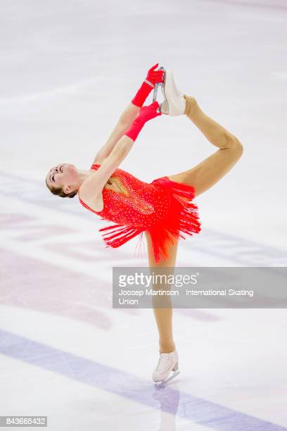 Kristina Isaev of Germany competes in the Junior Ladies Short Program during day 1 of the Riga Cup ISU Junior Grand Prix of Figure Skating at Volvo...