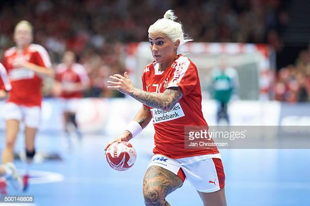 Kristina Kristiansen of Denmark in action during the 22nd IHF Women's Handball World Championship match between Denmark and Japan in Jyske Bank Boxen...