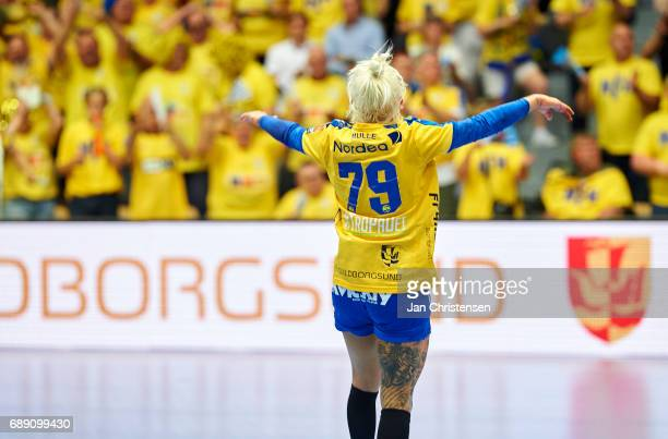 Kristina Kristiansen of Nykobing Falster Handbold and fans celebrate after the Primo Tours Ligaen 3 Final match between Nykobing Falster Handbold and...