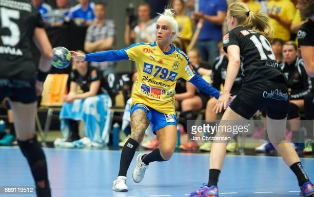 Kristina Kristiansen of Nykobing Falster Handbold in action during the Primo Tours Ligaen 3 Final match between Nykobing Falster Handbold and...