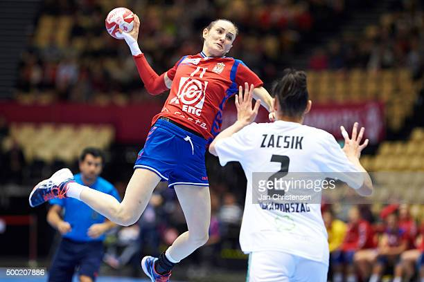 Kristina Liscevic of Serbia in action during the 22nd IHF Women's Handball World Championship match between Japan and Montenegro in Jyske Bank Boxen...