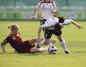 Kristina Mashkova of Russia fouls Nicole Rolser of Germany during the U17 Women international friendly match between Germany and Russia at the Sopron...