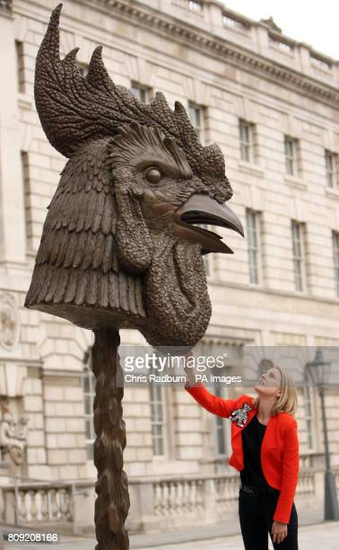 Kristina McLean from London views Ai Weiwei's first outdoor sculpture to go on display in London 'Circle of Animals/Zodiac Heads' in the historic...