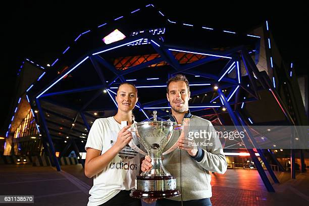 Kristina Mladenovic and Richard Gasquet of France pose with the Hopman Cup after winning the final againt Coco Vandeweghe and Jack Sock of the United...
