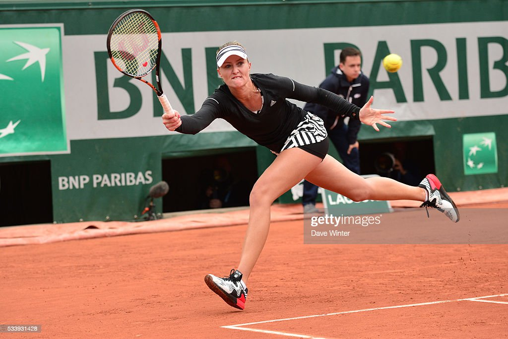 Kristina Mladenovic during the Women's Singles first round on day three of the French Open 2016 at Roland Garros on May 24, 2016 in Paris, France.