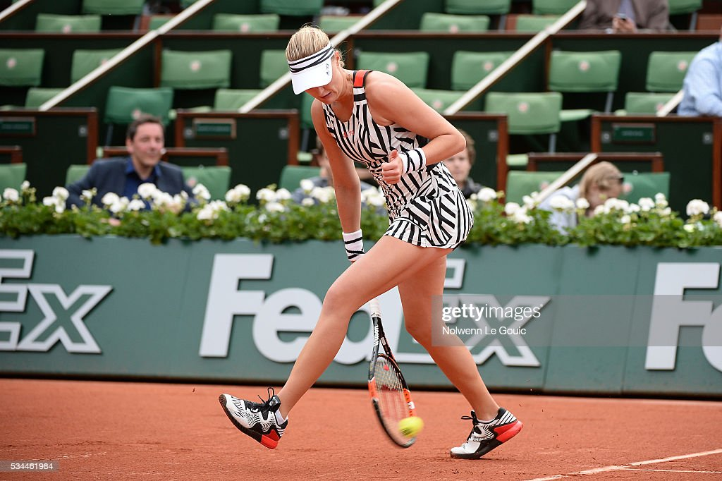 Kristina Mladenovic during the Women's Singles second round on day five of the French Open 2016 at Roland Garros on May 26, 2016 in Paris, France.