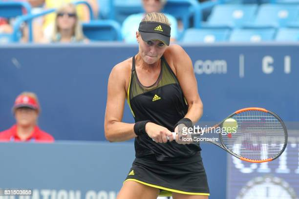 Kristina Mladenovic hits a backhand during the Western Southern Open at the Lindner Family Tennis Center in Mason Ohio on August 14 2017