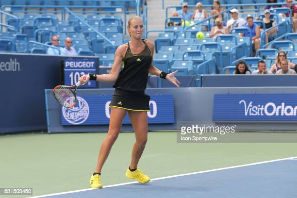 Kristina Mladenovic hits a forehand during the Western Southern Open at the Lindner Family Tennis Center in Mason Ohio on August 14 2017