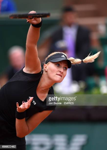 Kristina Mladenovic in action during her 1st round women's singles match against Eugenie Bouchard on day three of the French Open at Roland Garros on...