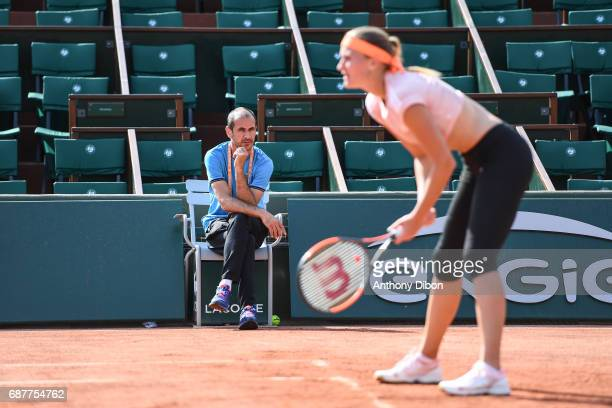 Kristina Mladenovic of France and her coach during qualifying match of the 2017 French Open at Roland Garros on May 24 2017 in Paris France