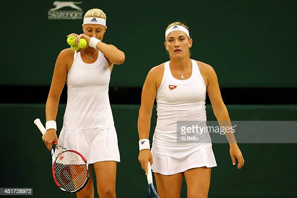 Kristina Mladenovic of France and Timea Babos of Hungary during their Ladies Doubles Final match against and Sara Errani and Roberta Vinci of Italy...