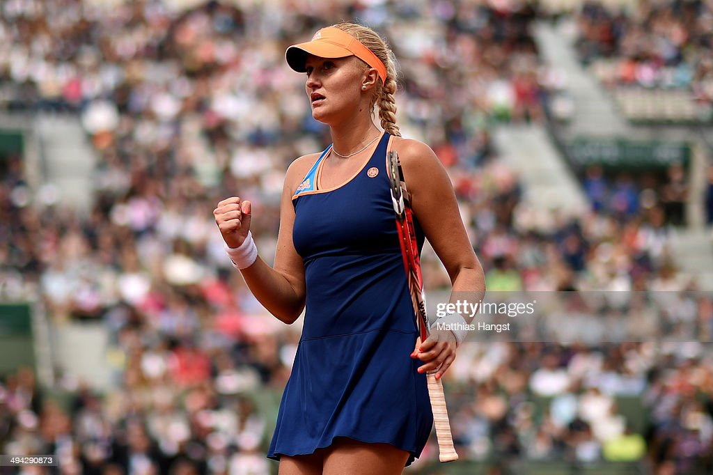 <a gi-track='captionPersonalityLinkClicked' href=/galleries/search?phrase=Kristina+Mladenovic&family=editorial&specificpeople=4835181 ng-click='$event.stopPropagation()'>Kristina Mladenovic</a> of France celebrates a point during her women's singles match against Alison Riske of the United States on day five of the French Open at Roland Garros on May 29, 2014 in Paris, France.