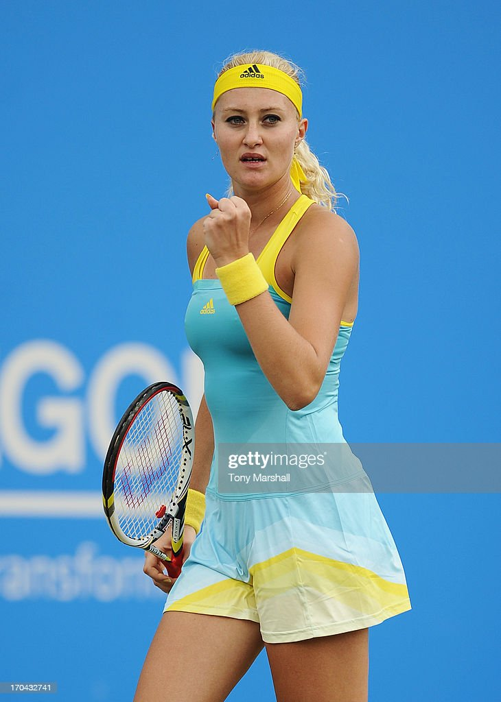 <a gi-track='captionPersonalityLinkClicked' href=/galleries/search?phrase=Kristina+Mladenovic&family=editorial&specificpeople=4835181 ng-click='$event.stopPropagation()'>Kristina Mladenovic</a> of France celebrates a point in her Women's Singles third round match against Daniela Hantuchova of Slovakia during day five of the AEGON Classic tennis tournament at Edgbaston Priory Club on June 13, 2013 in Birmingham, England.