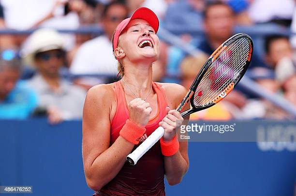 Kristina Mladenovic of France celebrates after defeating Daria Kasatkina of Russia during their Women's Singles Third Round match on Day Five of the...