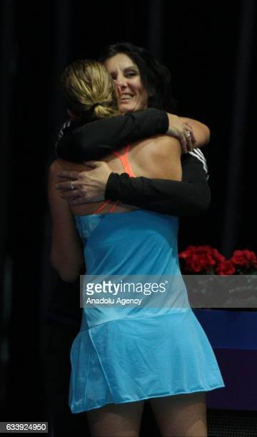 Kristina Mladenovic of France celebrates her victory after her final match against Yulia Putintseva of Kazakhstan at the StPetersburg Ladies Trophy...