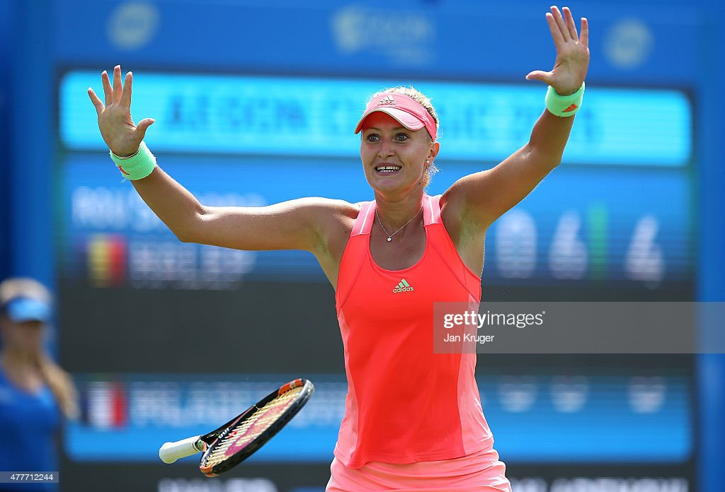 Kristina Mladenovic of France celebrates match point in her quarter finals match against Simona Halep of Romania on day five of the Aegon Classic at Edgbaston Priory Club on June 19, 2015 in Birmingham, England.