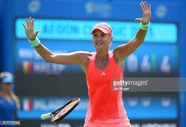 Kristina Mladenovic of France celebrates match point in her quarter finals match against Simona Halep of Romania on day five of the Aegon Classic at...