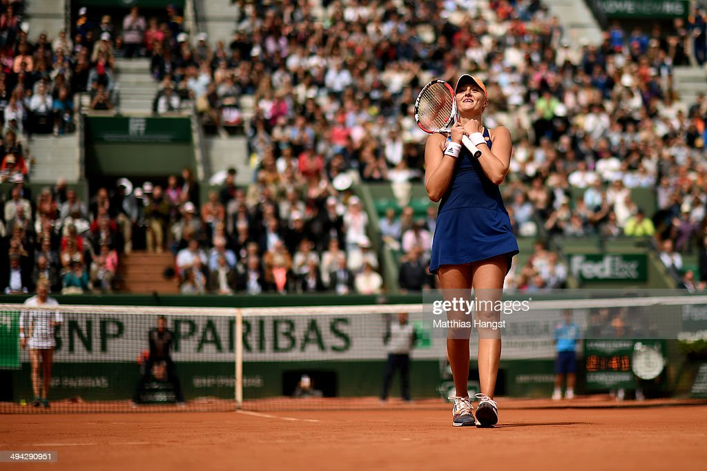 <a gi-track='captionPersonalityLinkClicked' href=/galleries/search?phrase=Kristina+Mladenovic&family=editorial&specificpeople=4835181 ng-click='$event.stopPropagation()'>Kristina Mladenovic</a> of France celebrates victory during her women's singles match against Alison Riske of the United States on day five of the French Open at Roland Garros on May 29, 2014 in Paris, France.