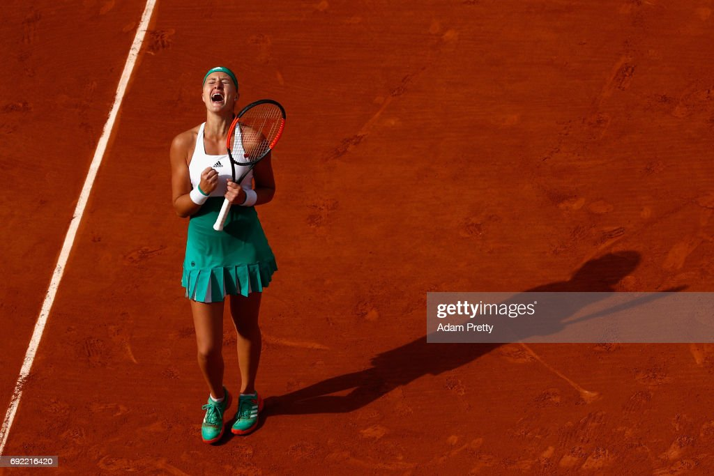 Kristina Mladenovic of France celebrates victory in the ladies singles fourth round match against Gabine Muguruza of Spain on day eight of the 2017 French Open at Roland Garros on June 4, 2017 in Paris, France.