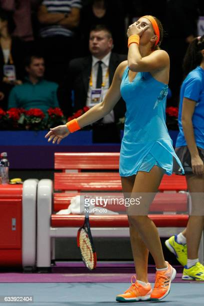 Kristina Mladenovic of France celebrates victory over Yulia Putintseva of Kazakhstan during their final match at St Petersburg Ladies Trophy tennis...