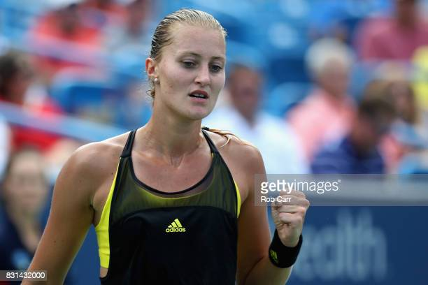 Kristina Mladenovic of France celebrates winning a point against Daria Gavrilova of Australia during the Western and Southern Open on August 14 2017...