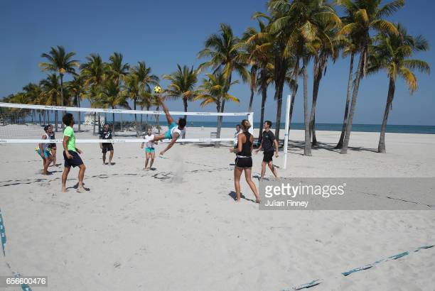 Kristina Mladenovic of France Daria Kasatkina of Russia Jamie Murray of Great Britain Bruno Soares of Brazil and Joao Sousa of Portugal take part in...