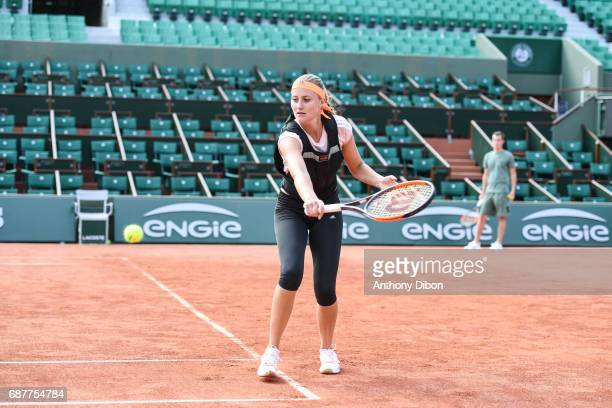 Kristina Mladenovic of France during qualifying match of the 2017 French Open at Roland Garros on May 24 2017 in Paris France