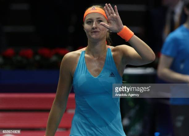 Kristina Mladenovic of France gestures during her final match against Yulia Putintseva of Kazakhstan at the StPetersburg Ladies Trophy 2017 tennis...