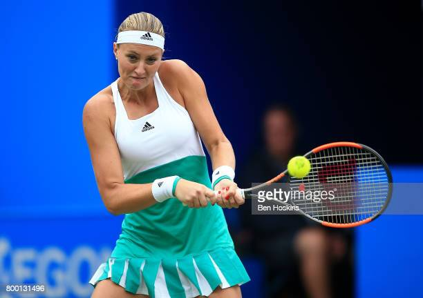 Kristina Mladenovic of France hits a backhand during the quarter final match against Petra Kvitova of The Czech Republic on day five of The Aegon...