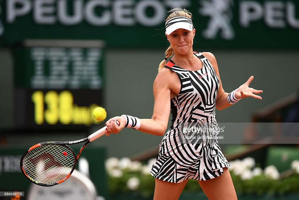 <a gi-track='captionPersonalityLinkClicked' href=/galleries/search?phrase=Kristina+Mladenovic&family=editorial&specificpeople=4835181 ng-click='$event.stopPropagation()'>Kristina Mladenovic</a> of France hits a forehand during the Ladies Singles second round match against Timea Babos of Hungary on day five of the 2016 French Open at Roland Garros on May 26, 2016 in Paris, France.