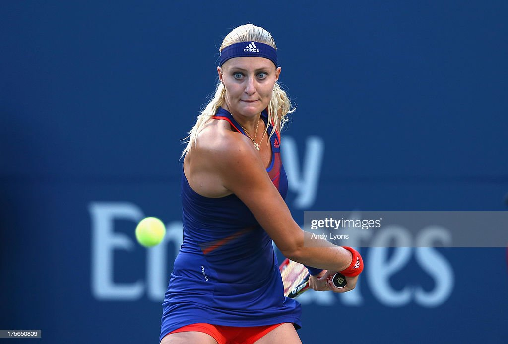 <a gi-track='captionPersonalityLinkClicked' href=/galleries/search?phrase=Kristina+Mladenovic&family=editorial&specificpeople=4835181 ng-click='$event.stopPropagation()'>Kristina Mladenovic</a> of France hits a return during her match against Sloane Stephens of the USA on day 1 of the Rogers Cup Toronto at Rexall Centre at York University on August 5, 2013 in Toronto, Canada.