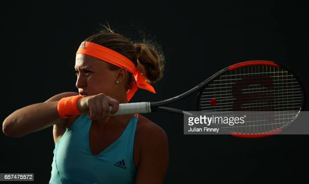 Kristina Mladenovic of France in action against Patricia Maria Tig of Romania at Crandon Park Tennis Center on March 24 2017 in Key Biscayne Florida