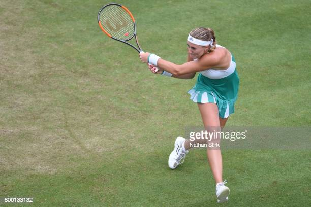 Kristina Mladenovic of France in action during the quarter final match against Petra Kvitova of Czech Republic on day five of The Aegon Classic...