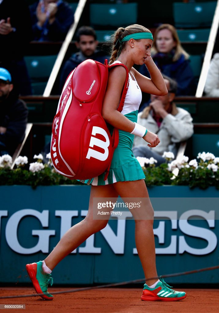 Kristina Mladenovic of France leaves the court following defeat in the ladies singles Quarter Finals match against Timea Bacsinszky of Switzerland on day ten of the 2017 French Open at Roland Garros on June 6, 2017 in Paris, France.