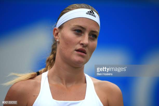 Kristina Mladenovic of France looks on during the quarter final match against Petra Kvitova of The Czech Republic on day five of The Aegon Classic...