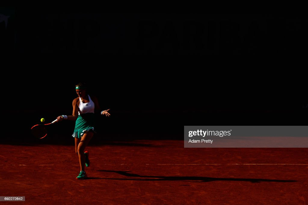 Kristina Mladenovic of France, partner of Svetlana Kuznetsova of Russia (Not pictured) plays a forehand during the ladies doubles match against Jana Capelova of Sloavakia and Su-Wei Hsieh of Taipei on day eight of the 2017 French Open at Roland Garros on June 4, 2017 in Paris, France.