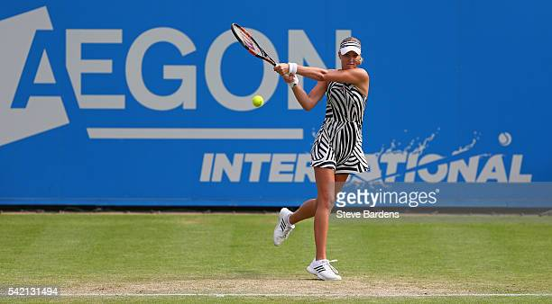 Kristina Mladenovic of France plays a backhand during her third round women's singles match against AnnaLena Friedsam of Germany on day four of the...