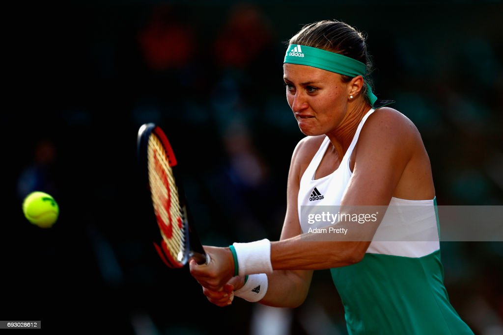 Kristina Mladenovic of France plays a backhand during ladies singles Quarter Finals match against Timea Bacsinszky of Switzerland on day ten of the 2017 French Open at Roland Garros on June 6, 2017 in Paris, France.