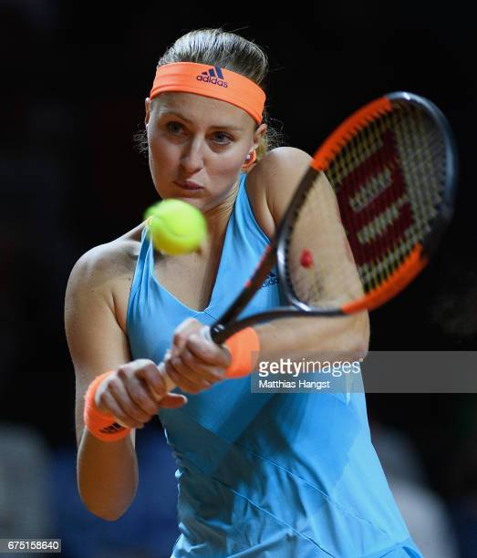 Kristina Mladenovic of France plays a backhand during the singles final match against Laura Siegemund of Germany on Day 7 of the Porsche Tennis Grand...