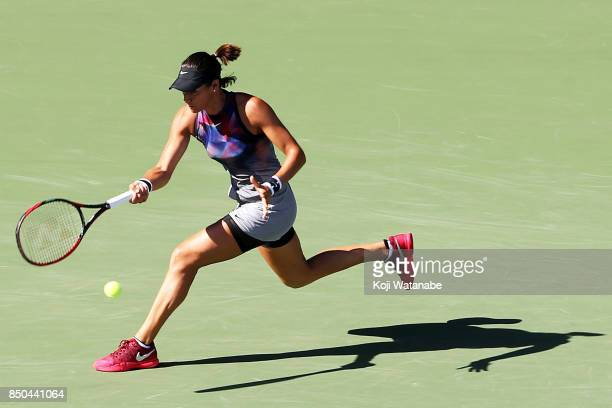 Kristina Mladenovic of France plays a backhand on against Kurumi Nara of Japan during day four of the Toray Pan Pacific Open Tennis At Ariake...