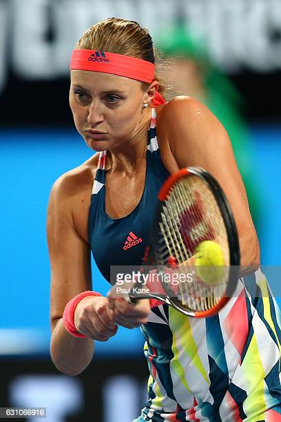Kristina Mladenovic of France plays a backhand to Belinda Bencic of Switzerland in the women's singles match during day six of the 2017 Hopman Cup at...