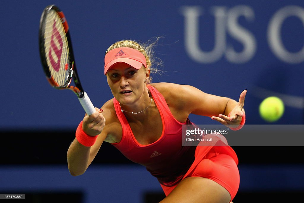 <a gi-track='captionPersonalityLinkClicked' href=/galleries/search?phrase=Kristina+Mladenovic&family=editorial&specificpeople=4835181 ng-click='$event.stopPropagation()'>Kristina Mladenovic</a> of France plays a forehand against Ekaterina Makarova of Russia in their womens singles fourth round match on Day Seven of the 2015 US Open at the USTA Billie Jean King National Tennis Center on September 6, 2015 in the Flushing neighborhood of the Queens borough of New York City.