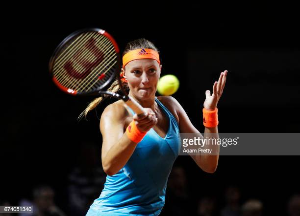 Kristina Mladenovic of France plays a forehand during her match against Angelique Kerber of Germany during the Porsche Tennis Grand Prix at Porsche...