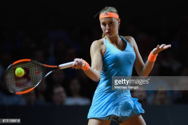 Kristina Mladenovic of France plays a forehand during the singles final match against Laura Siegemund of Germany on Day 7 of the Porsche Tennis Grand...